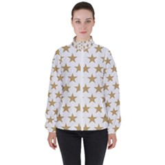 Gold Star Women s High Neck Windbreaker by WensdaiAmbrose