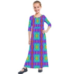 Groovy Green Orange Blue Yellow Square Pattern Kids  Quarter Sleeve Maxi Dress by BrightVibesDesign