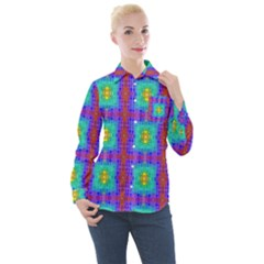 Groovy Green Orange Blue Yellow Square Pattern Women s Long Sleeve Pocket Shirt