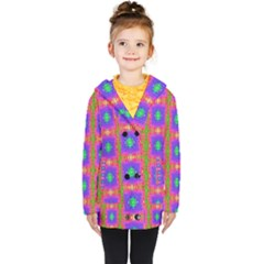 Groovy Purple Green Pink Square Pattern Kids  Double Breasted Button Coat