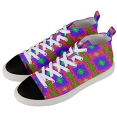 Groovy Purple Green Pink Square Pattern Men s Mid Top Canvas Sneakers by BrightVibesDesign
