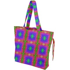 Groovy Purple Green Pink Square Pattern Drawstring Tote Bag
