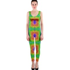 Groovy Purple Green Blue Orange Square Pattern One Piece Catsuit