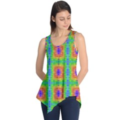 Groovy Purple Green Blue Orange Square Pattern Sleeveless Tunic