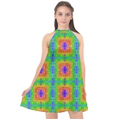 Groovy Purple Green Blue Orange Square Pattern Halter Neckline Chiffon Dress