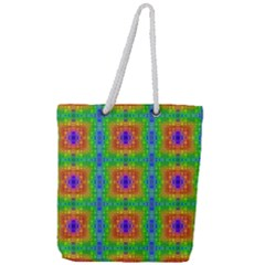 Groovy Purple Green Blue Orange Square Pattern Full Print Rope Handle Tote (large)