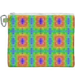 Groovy Purple Green Blue Orange Square Pattern Canvas Cosmetic Bag (xxxl)