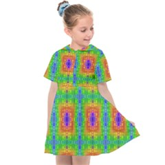 Groovy Purple Green Blue Orange Square Pattern Kids  Sailor Dress