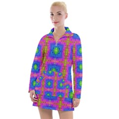 Groovy Pink Blue Yellow Square Pattern Women s Long Sleeve Casual Dress