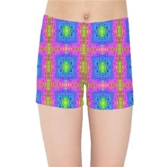 Groovy Pink Blue Yellow Square Pattern Kids  Sports Shorts
