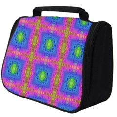 Groovy Pink Blue Yellow Square Pattern Full Print Travel Pouch (big)