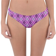 Argyle Large Pink Pattern Reversible Hipster Bikini Bottoms by BrightVibesDesign