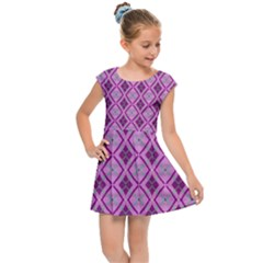 Argyle Large Pink Pattern Kids  Cap Sleeve Dress by BrightVibesDesign