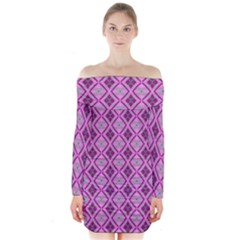 Argyle Large Pink Pattern Long Sleeve Off Shoulder Dress by BrightVibesDesign