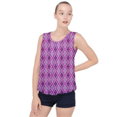 Argyle Large Pink Pattern Bubble Hem Chiffon Tank Top by BrightVibesDesign