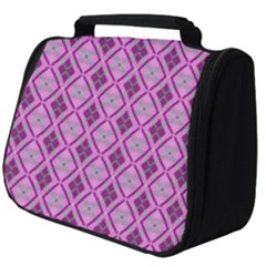 Argyle Large Pink Pattern Full Print Travel Pouch (big)
