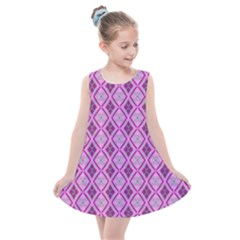 Argyle Large Pink Pattern Kids  Summer Dress by BrightVibesDesign