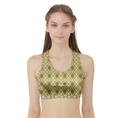 Argyle Large Yellow Pattern Sports Bra With Border by BrightVibesDesign