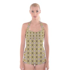 Argyle Large Yellow Pattern Boyleg Halter Swimsuit  by BrightVibesDesign