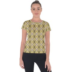 Argyle Large Yellow Pattern Short Sleeve Sports Top  by BrightVibesDesign