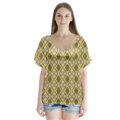 Argyle Large Yellow Pattern V-neck Flutter Sleeve Top by BrightVibesDesign