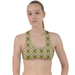 Argyle Large Yellow Pattern Criss Cross Racerback Sports Bra by BrightVibesDesign