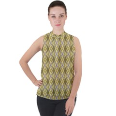 Argyle Large Yellow Pattern Mock Neck Chiffon Sleeveless Top by BrightVibesDesign