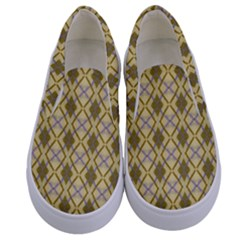 Argyle Large Yellow Pattern Kids  Canvas Slip Ons