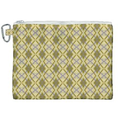 Argyle Large Yellow Pattern Canvas Cosmetic Bag (xxl) by BrightVibesDesign