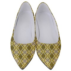 Argyle Large Yellow Pattern Women s Low Heels by BrightVibesDesign