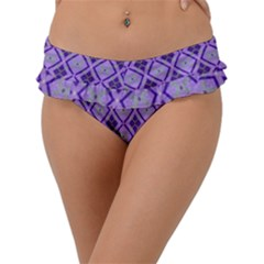 Argyle Large Purple Pattern Frill Bikini Bottom by BrightVibesDesign