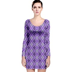 Argyle Large Purple Pattern Long Sleeve Velvet Bodycon Dress by BrightVibesDesign