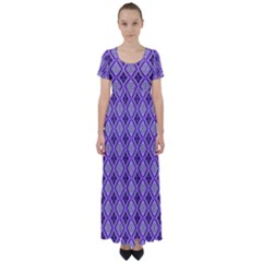 Argyle Large Purple Pattern High Waist Short Sleeve Maxi Dress by BrightVibesDesign