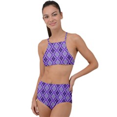 Argyle Large Purple Pattern High Waist Tankini Set by BrightVibesDesign
