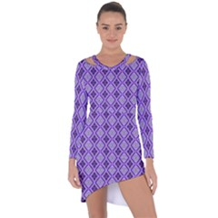 Argyle Large Purple Pattern Asymmetric Cut-out Shift Dress by BrightVibesDesign