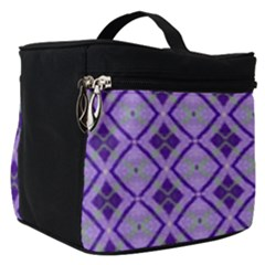 Argyle Large Purple Pattern Make Up Travel Bag (small) by BrightVibesDesign