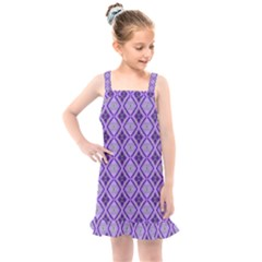 Argyle Large Purple Pattern Kids  Overall Dress by BrightVibesDesign