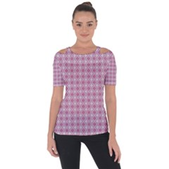 Argyle Light Red Pattern Shoulder Cut Out Short Sleeve Top by BrightVibesDesign