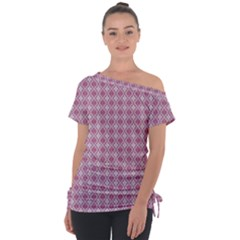 Argyle Light Red Pattern Tie Up Tee by BrightVibesDesign
