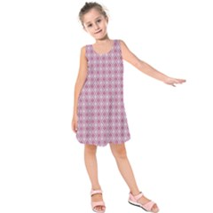 Argyle Light Red Pattern Kids  Sleeveless Dress by BrightVibesDesign