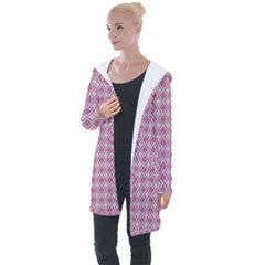 Argyle Light Red Pattern Longline Hooded Cardigan by BrightVibesDesign