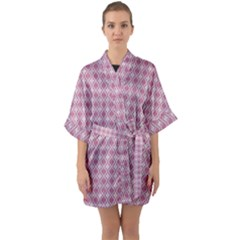 Argyle Light Red Pattern Quarter Sleeve Kimono Robe by BrightVibesDesign