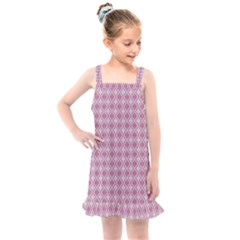 Argyle Light Red Pattern Kids  Overall Dress by BrightVibesDesign