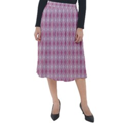 Argyle Light Red Pattern Classic Velour Midi Skirt  by BrightVibesDesign