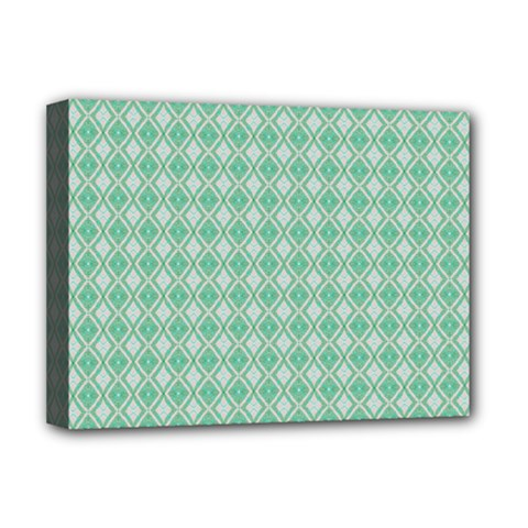 Argyle Light Green Pattern Deluxe Canvas 16  X 12  (stretched)  by BrightVibesDesign