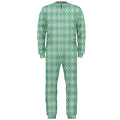 Argyle Light Green Pattern Onepiece Jumpsuit (men)  by BrightVibesDesign