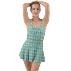 Argyle Light Green Pattern Ruffle Top Dress Swimsuit by BrightVibesDesign