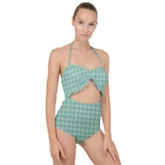 Argyle Light Green Pattern Scallop Top Cut Out Swimsuit by BrightVibesDesign
