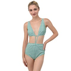 Argyle Light Green Pattern Tied Up Two Piece Swimsuit by BrightVibesDesign