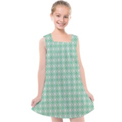 Argyle Light Green Pattern Kids  Cross Back Dress by BrightVibesDesign